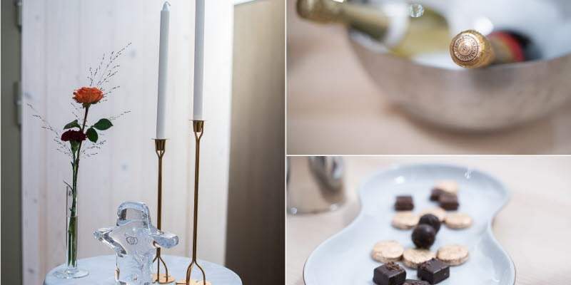 VIP Service Arlanda table with candles, chocolate and beverages