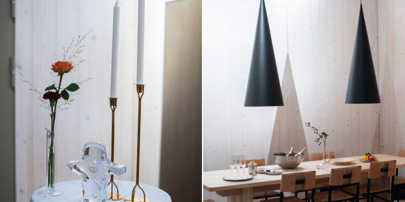 VIP Service Arlanda litet runt bord med ljusstakar och ett dukat bord med två taklampor
