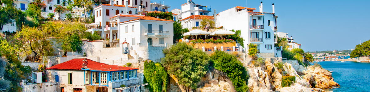 Beautiful village by the sea in skiathos