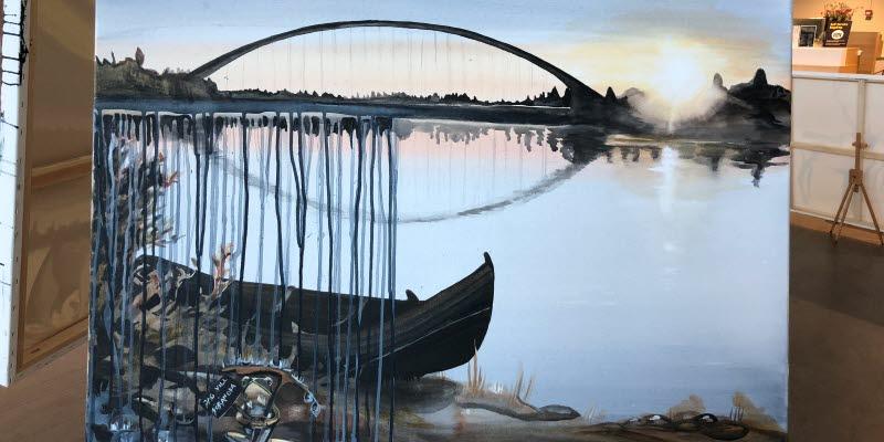 En målning på en bro över en flod och en båt vid strandkanten