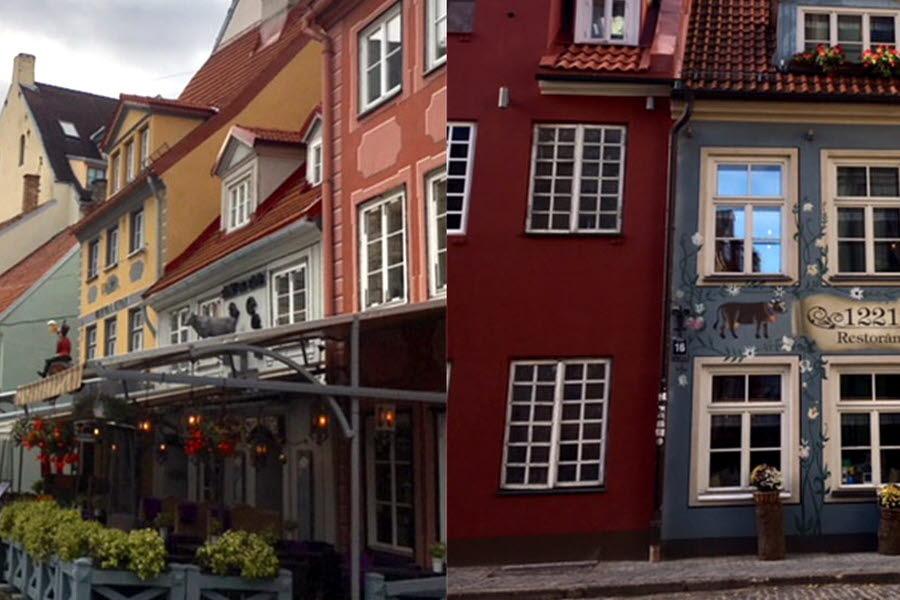 Färggranna fasader i Riga