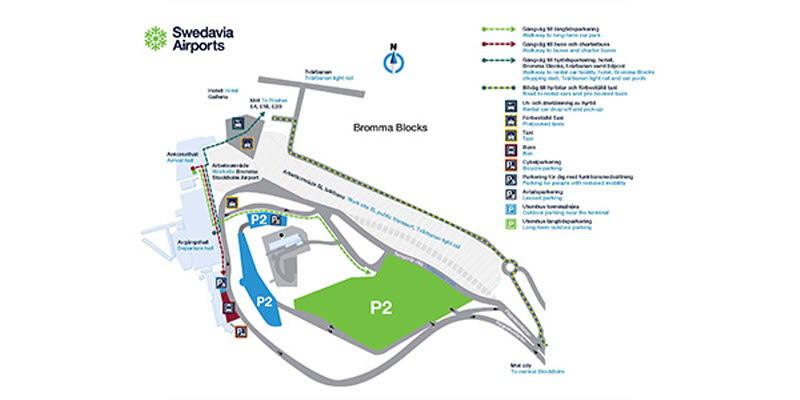 Karta Over Arlanda Flygplats.Provisorisk Infartsvag Till Bromma Stockholm Airport Bromma